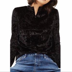 Topshop | Quarter Zip Velvet Pullover